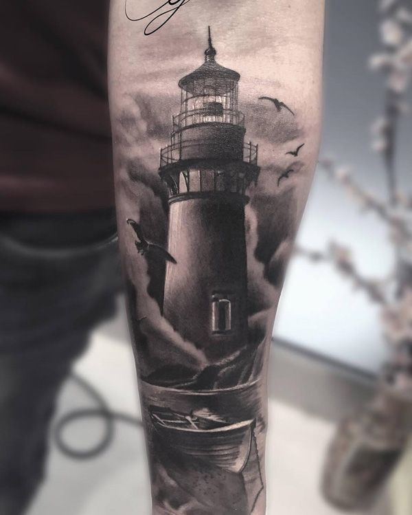 Lighthouse Tattoo in Black and White on Forearm