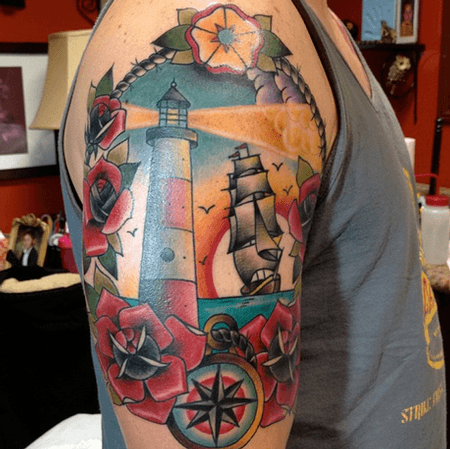 Lighthouse Tattoo on full Hand