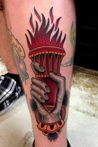 Fire Torch Tattoo on Hand