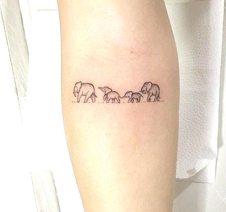 Elephant Family Tattoo On Hand.