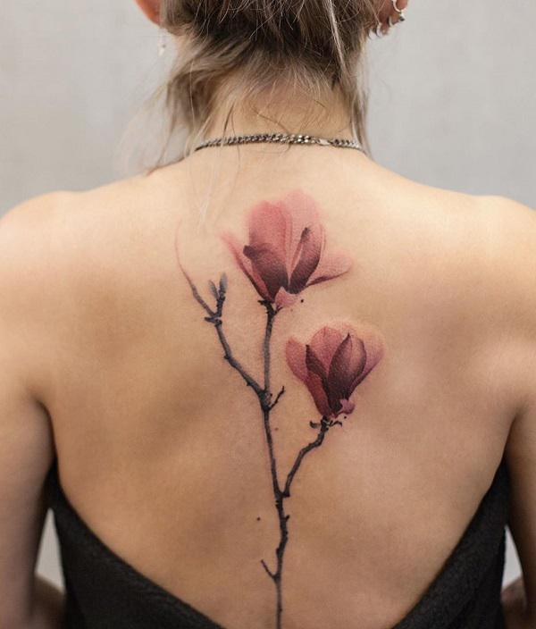 Magnolia Tattoo at Back for women
