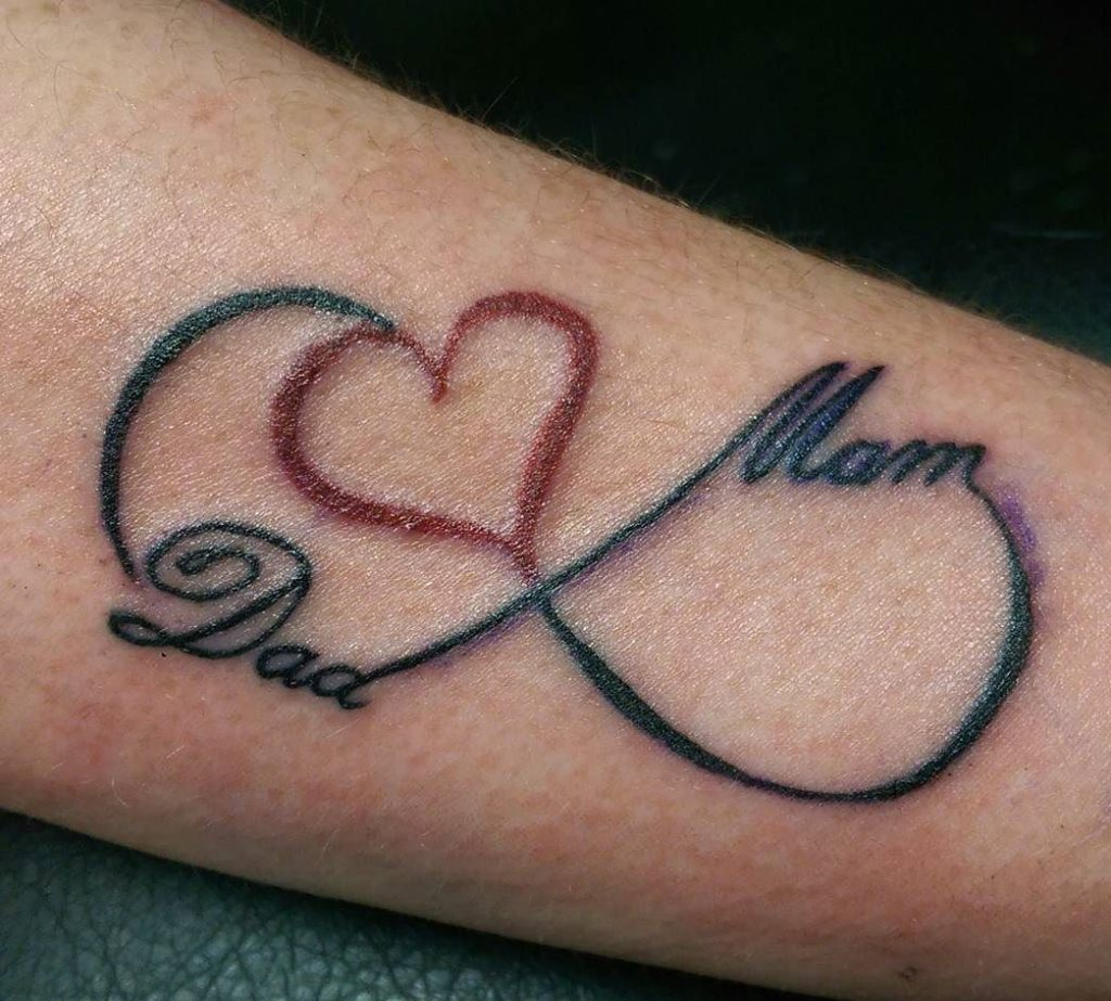 Infinity Symbol Tattoo With Mom Dad Written.