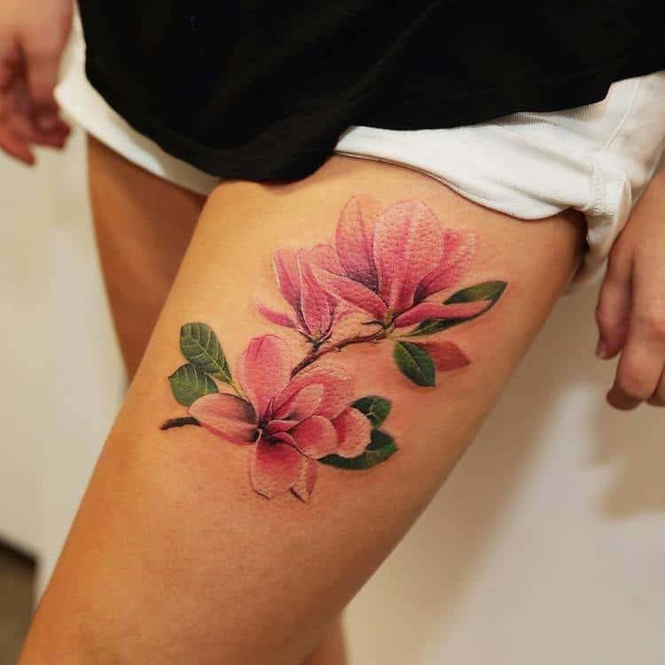 Magnolia Tattoo on Lap