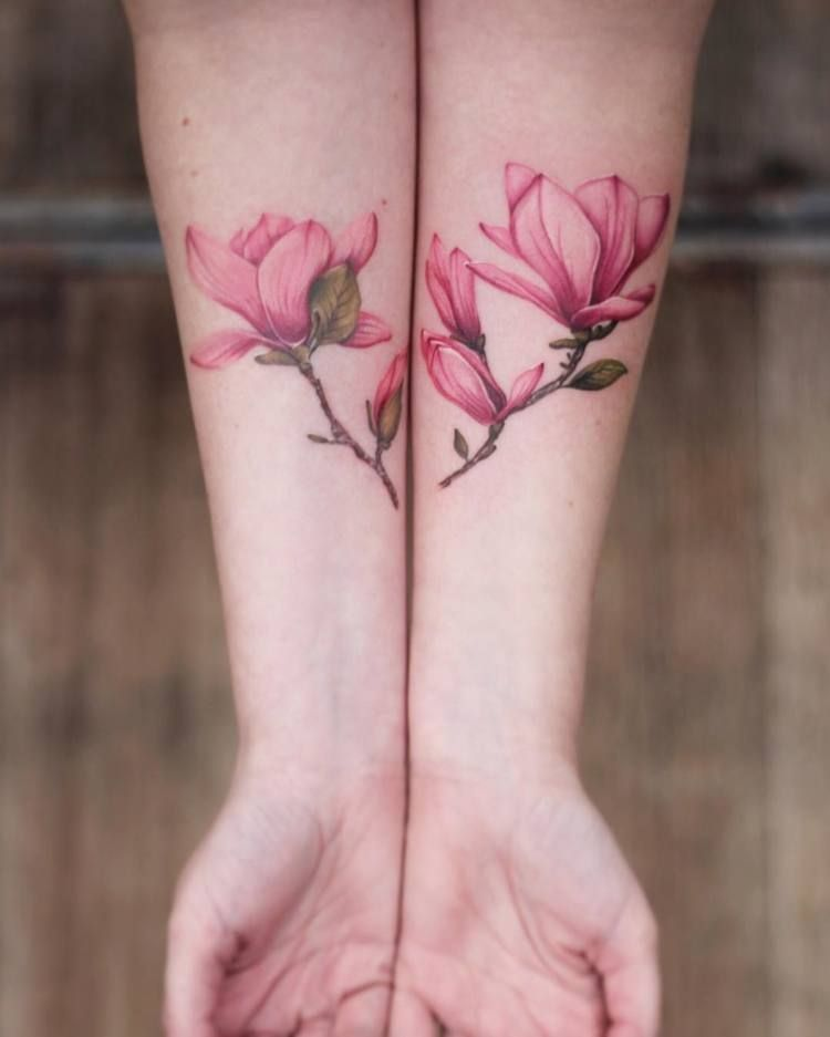 Magnolia Tattoo on Both Hand