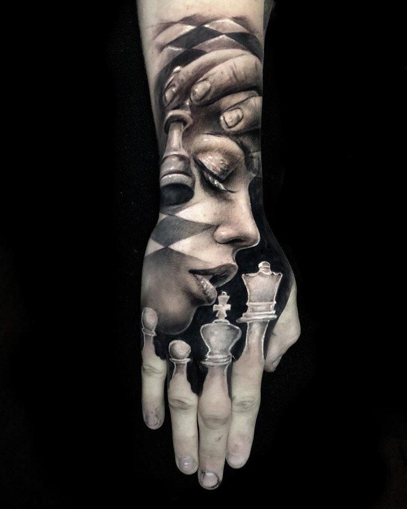 3D Chess Tattoo