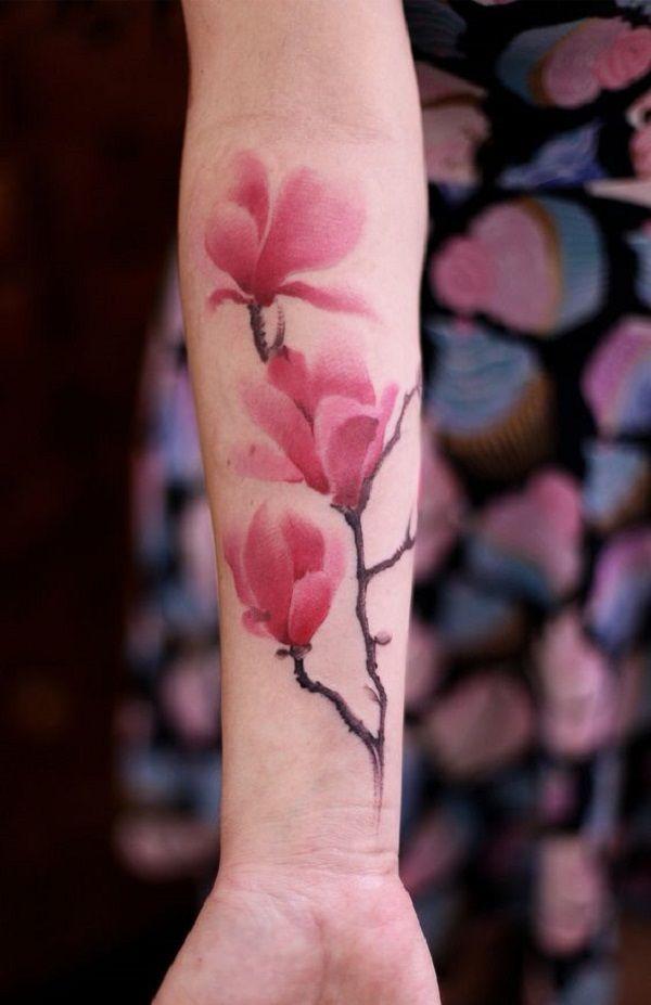 Magnolia colorful Tattoo on Hand