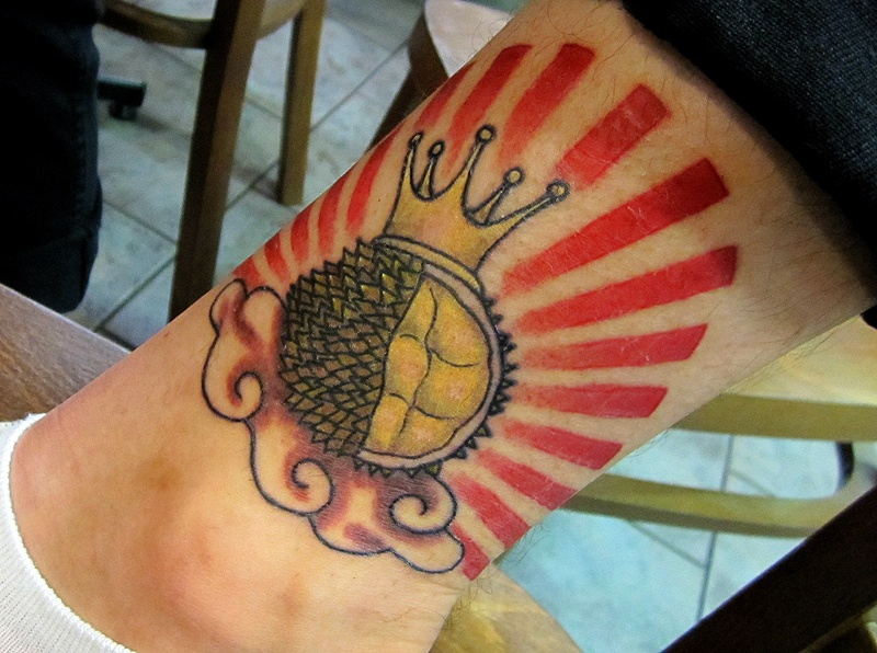 durian Fruit Tattoo on leg