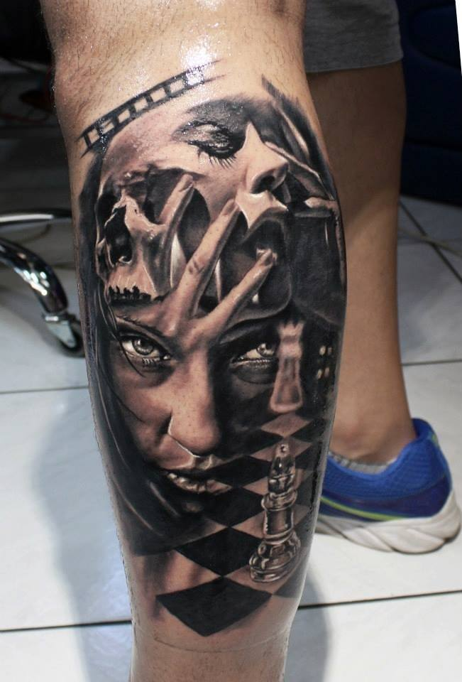 Chess Black and Whit color Tattoo
