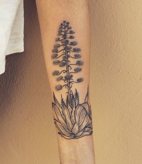 Agave full bloom flower Tattoo on hand of a girl.