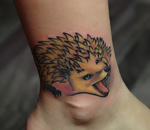 Fierce Hedgehog Tattoo On Leg