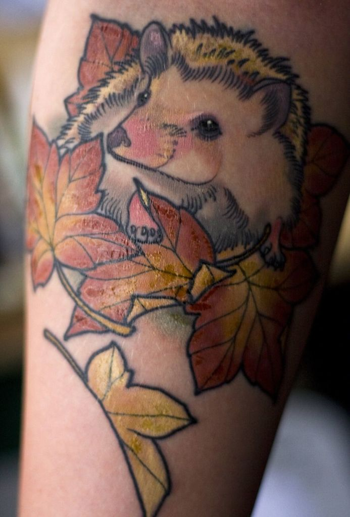 Autumn Leaves Hedgehog Tattoo