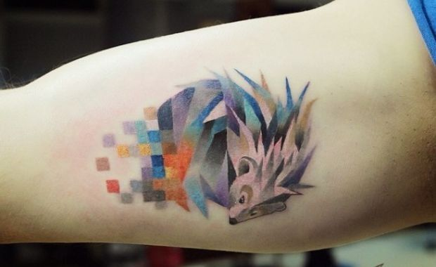 Geometric Watercolor Hedgehog Tattoo