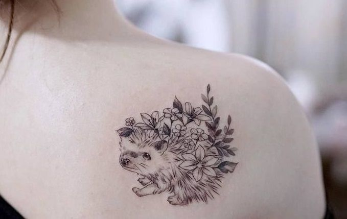 Hedgehog Tattoo on shoulder