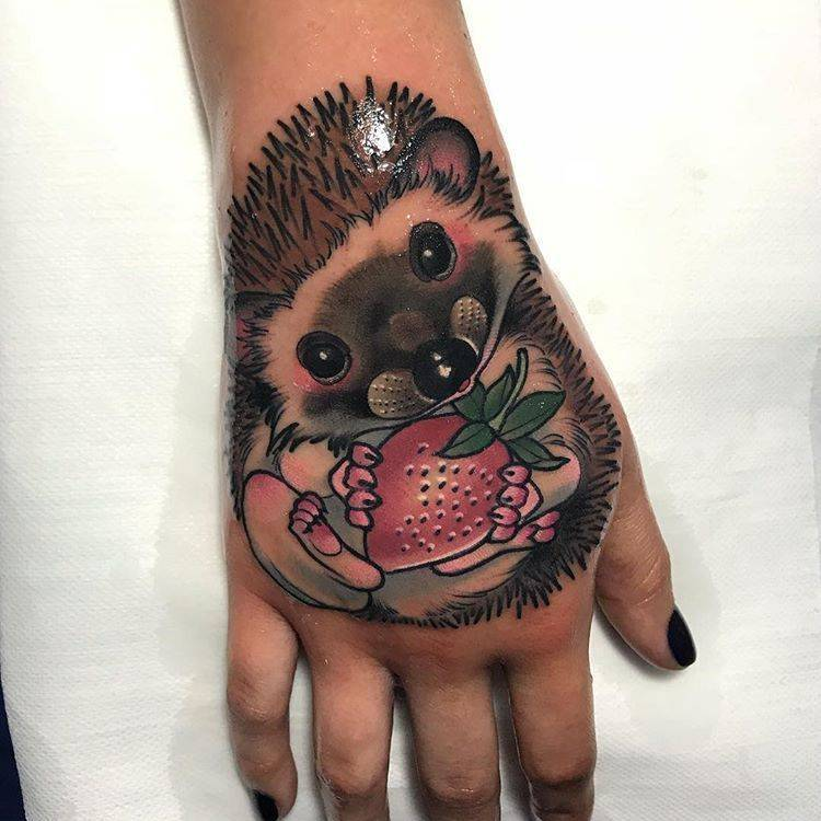 Hedgehog Tattoo with fruit