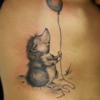 Hedgehog With Balloon Tattoo