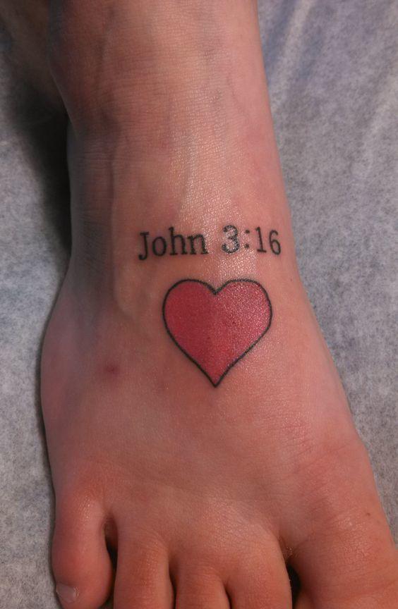 John 3:16 with heart tattoo on leg.