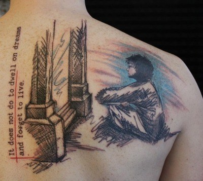 Mirror Tattoo and quote on Back