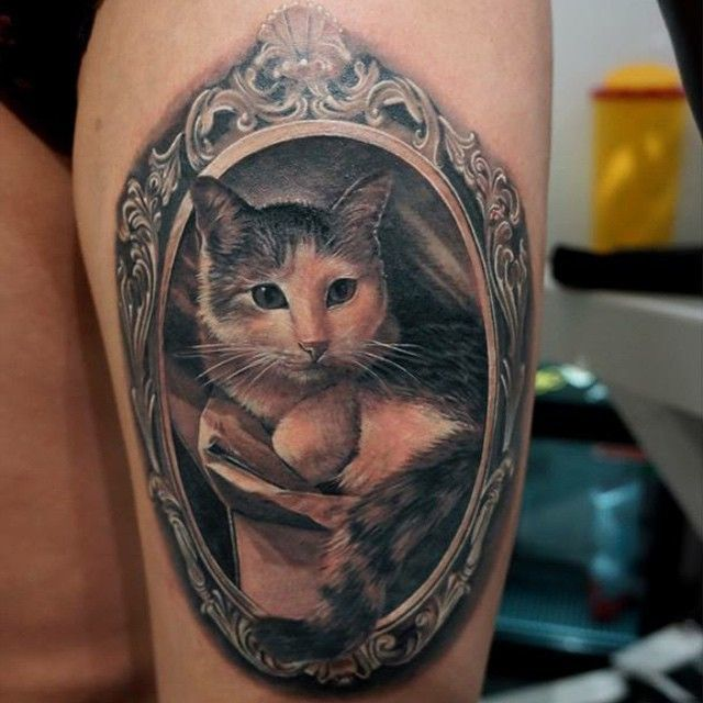 Mirror and Cat Tattoos