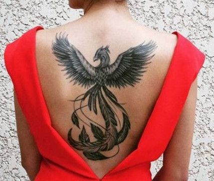Phoenix Tattoo on back of a girl.