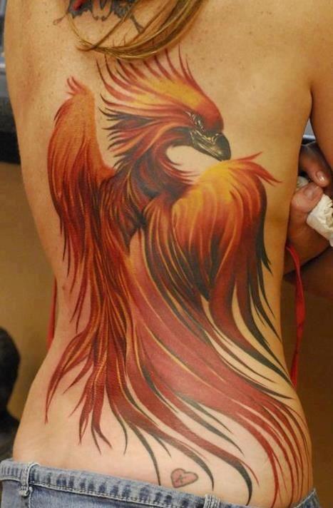 Phoenix Tattoo on back for woman.