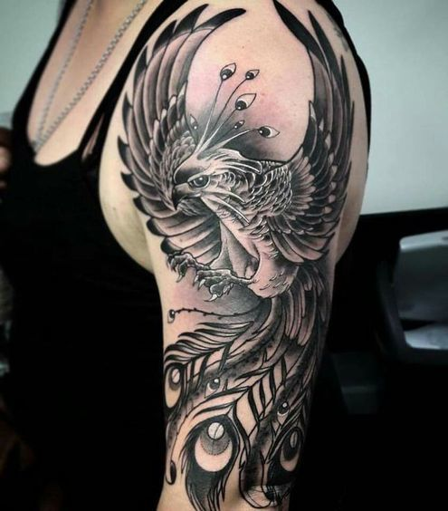 Phoenix Tattoo on shoulder of a girl.