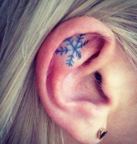 Snowflake Tattoo On Ear.
