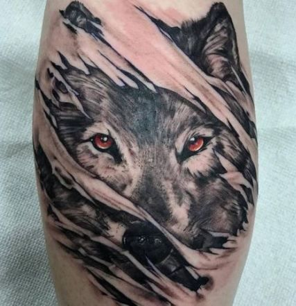 Wolf Mask Tattoo Representing Power.