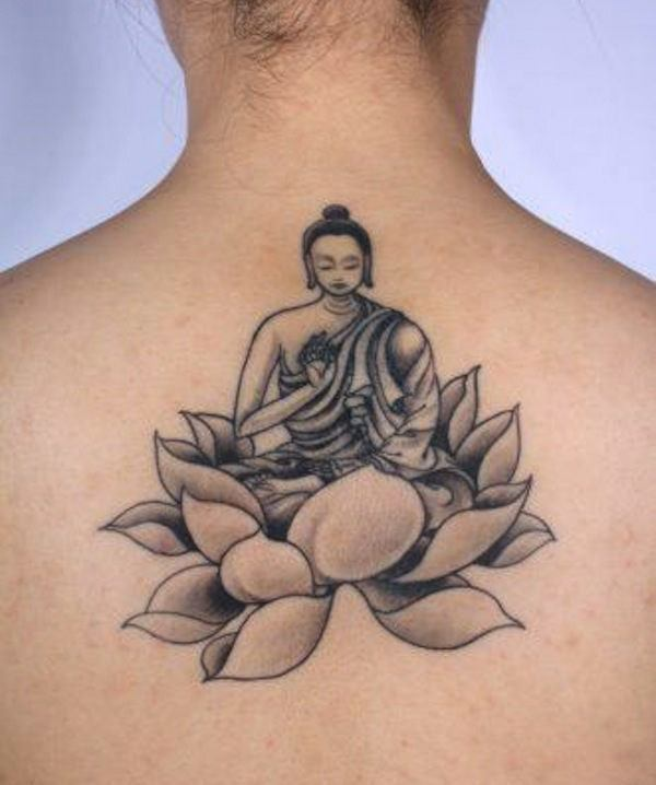 Power represented by Buddha Meditating On Lotus Tattoo On Back.