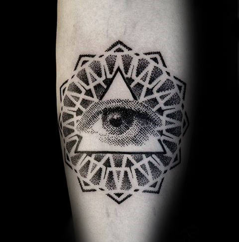 Eye Of Providence Tattoo On Hand Representing Power.