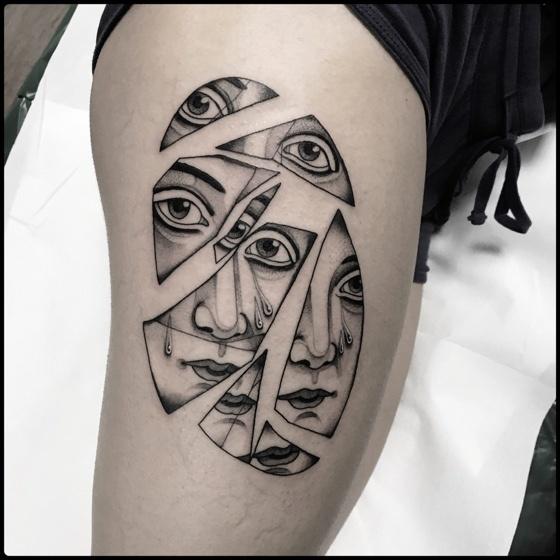 Broken Mirror Tattoo on thigh