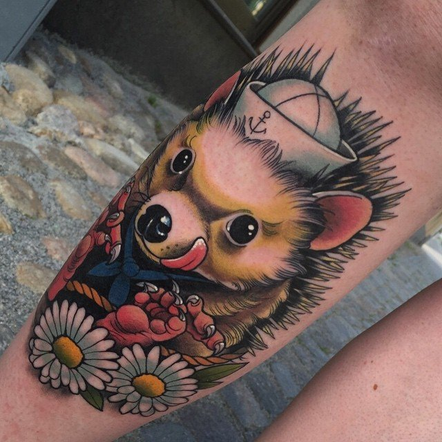 Happy Hedgehog Tattoo