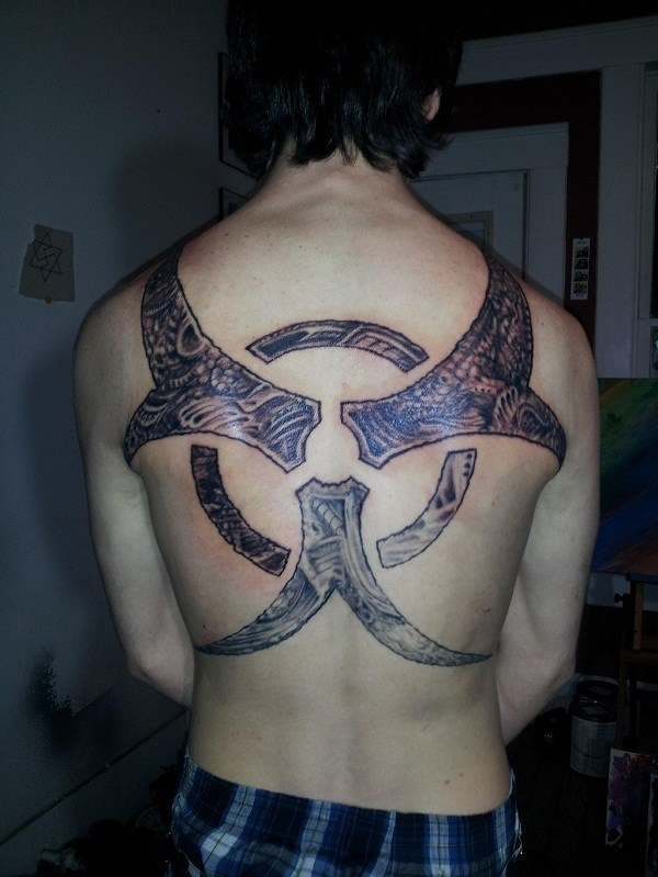 Huge Biohazard Tattoo at Back