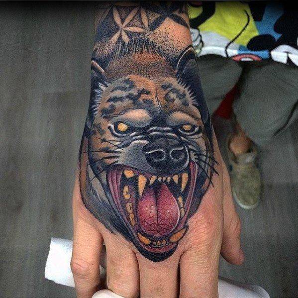 Hyena Tattoo on Hand for Men