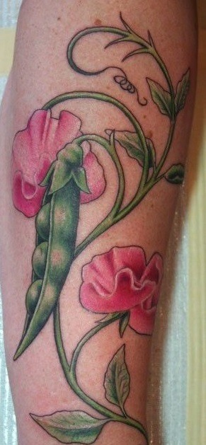 Colorful Peas Pod Tattoo on hand for women