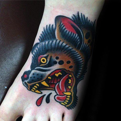 Colorful Laughing Hyena Tattoo on Foot