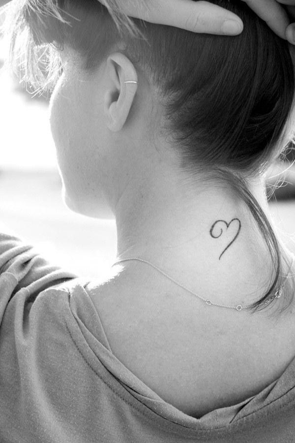 Heart Tattoo on Neck