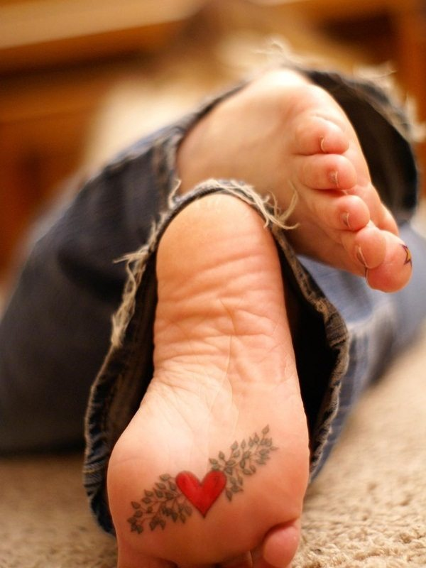 Heart Tattoo on Foot for Women