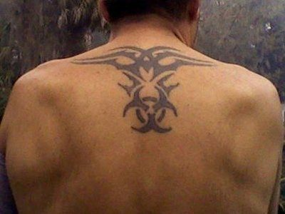Biohazard Tattoo at Back for Men