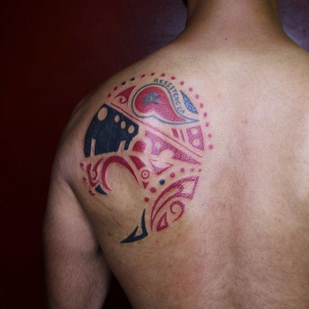 Tribal Hyena Tattoo at Back