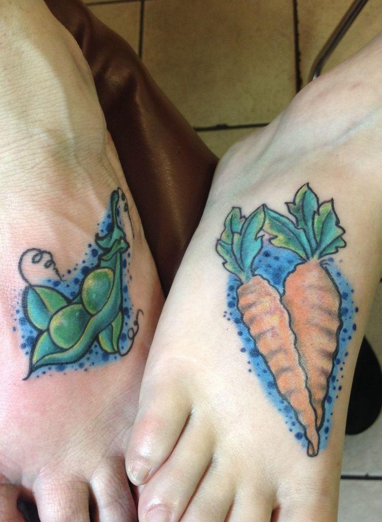 Peas Pod  Tattoo with carrot Tattoo