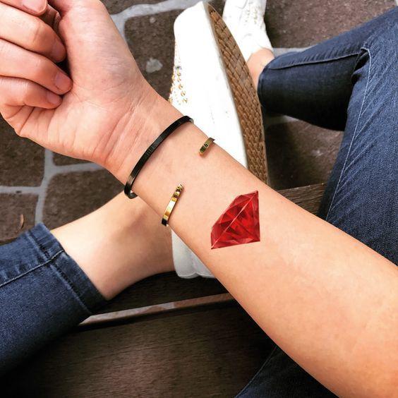 Red diamond Tattoo on wrist for women
