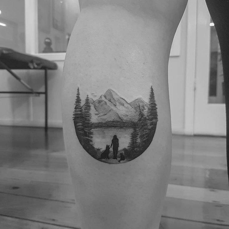 Round shape Mountain Tattoo