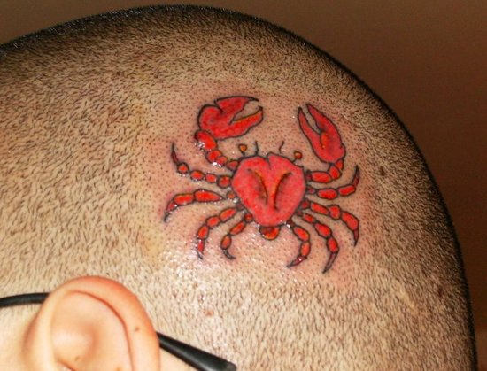 Tiny Crab Tattoo on Head