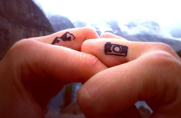 Tiny Mountain Tattoo Finger