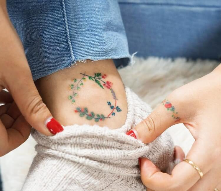 Floral colorful circle Tattoo