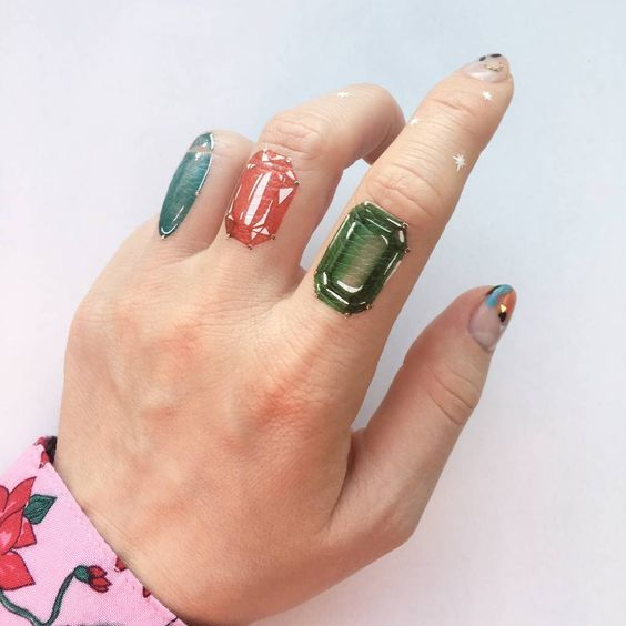 Gem Tattoo on finger for women