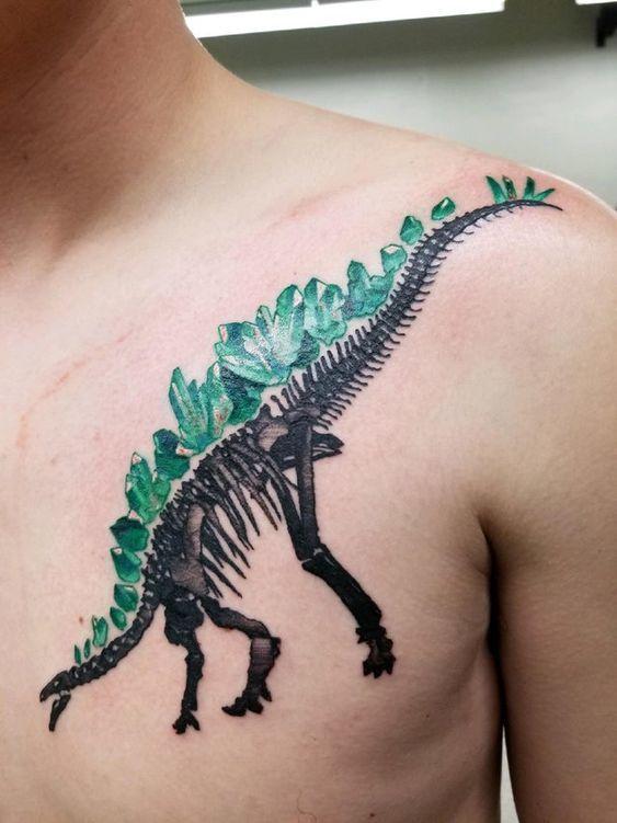 Green crystal Tattoo on shoulder for men