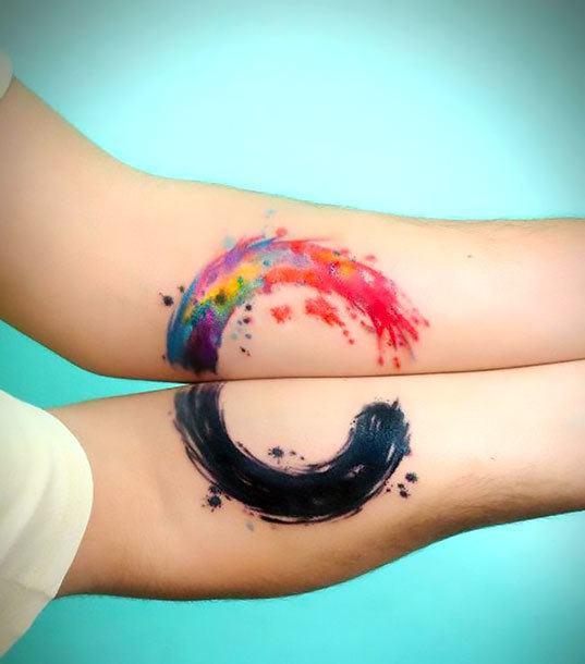 Color Couple Circle Tattoo