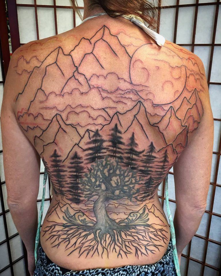 Mountain Tattoo at Back