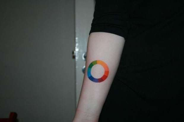 Simple Circle Tattoo on  forearm for men